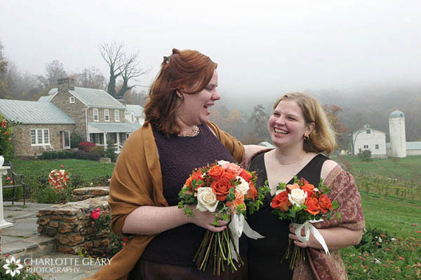 Brown bridesmaid dresses and orange flowers