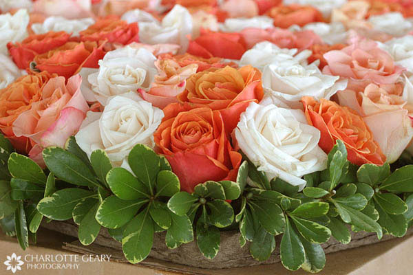 Orange rose centerpiece