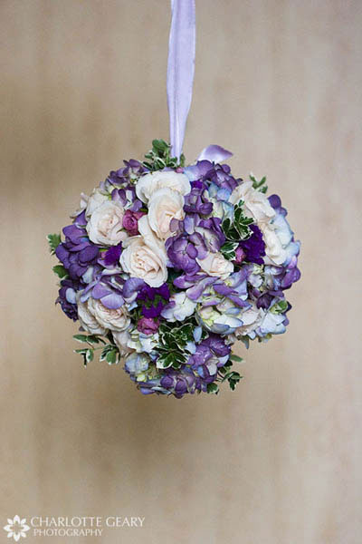 Flower girl\\&#039;s pomander kissing ball with purple and blue flowers