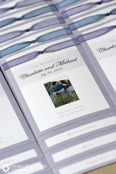 Blue and purple wedding programs