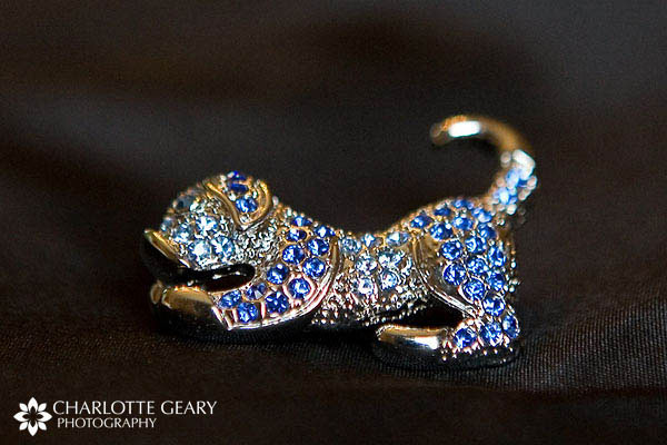 Heirloom dog brooch with blue stones
