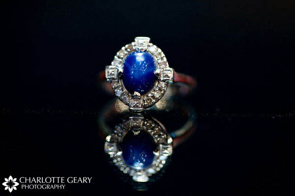 Heirloom ring with royal blue stone