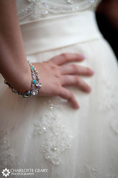 Bride with a turquoise blue bracelet