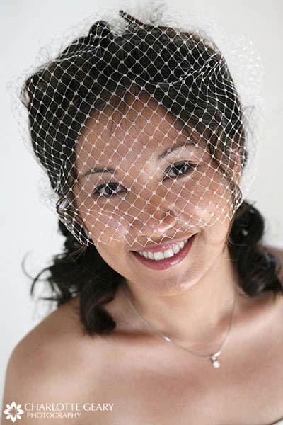 Bride in a birdcage veil