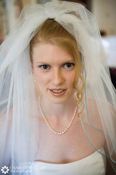 Bridal veil with light blue trim