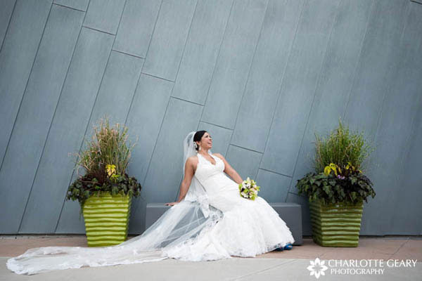 Bride with halter lace gown and cathedral-length lace veil