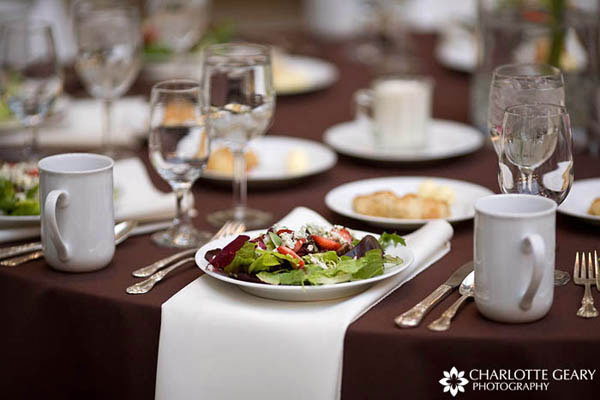 Wedding place settings with brown table linens