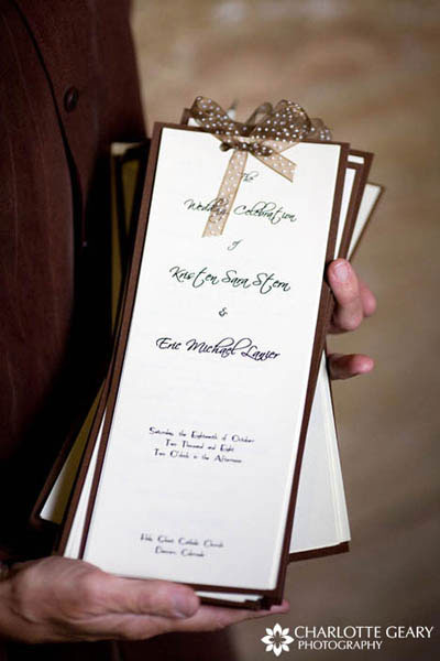 Brown wedding programs