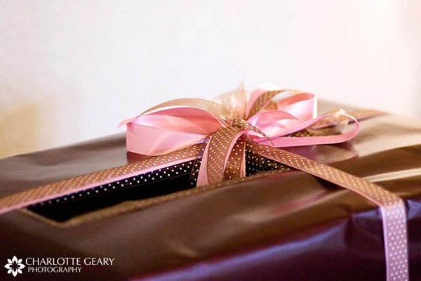 Pink and brown wrapped wedding card box