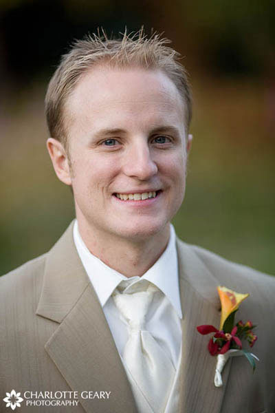 Groom in a tan suit