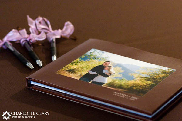Guestbook of engagement portraits in brown, with pens tied with pink ribbons