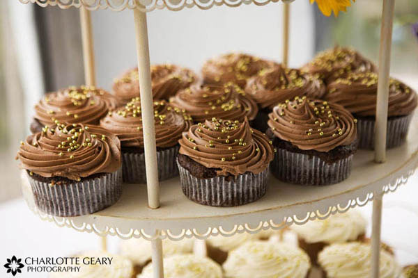Wedding cupcakes with brown icing