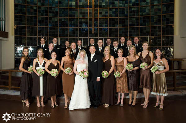 Bridesmaids in brown dresses of their choice