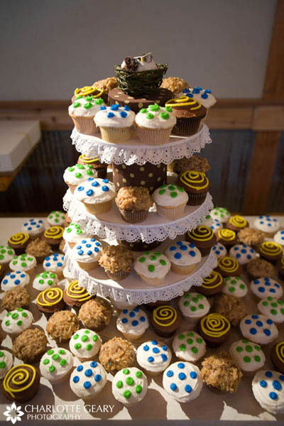 Wedding cupcakes with polka dots