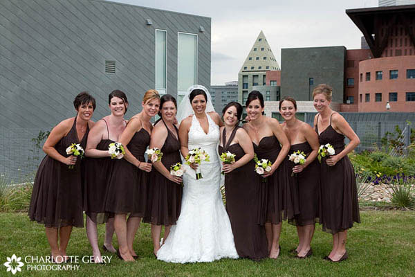 Bridesmaids in brown dresses