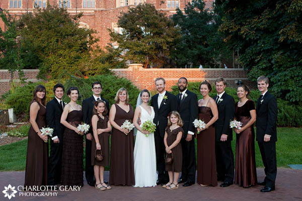 Wedding party with brown bridesmaid dresses