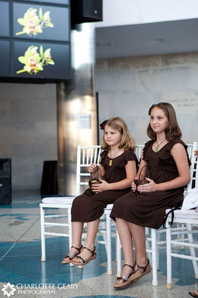Flower girls in brown dresses