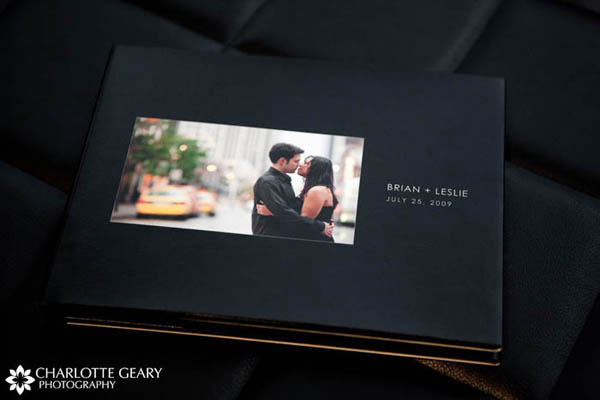 Engagement portrait guestbook with black cover