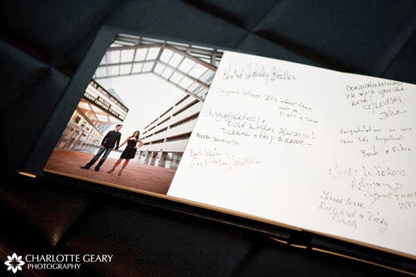 Wedding guestbook featuring the couple