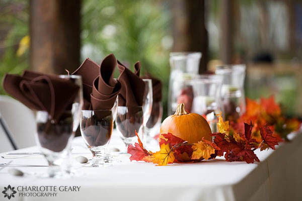 Pumpkin centerpiece for autumn wedding reception