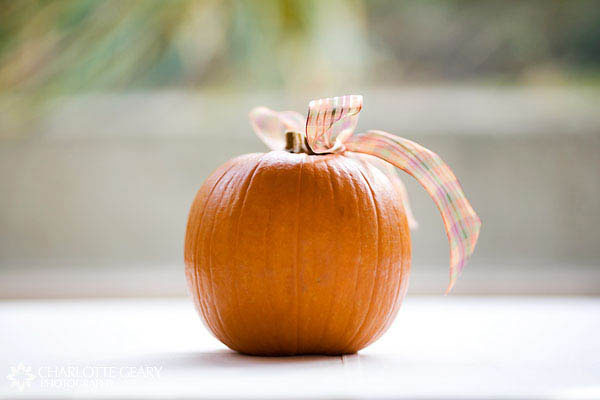 Pumpkin decoration with an orange ribbon