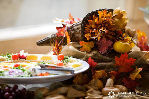 Cornucopia decoration on wedding buffet table