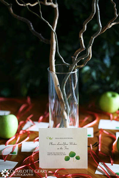 Tags for guests to leave a message and hang from curly willow branches