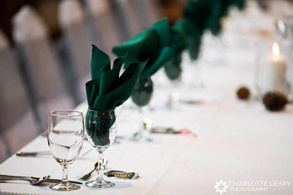 Dark green table linens