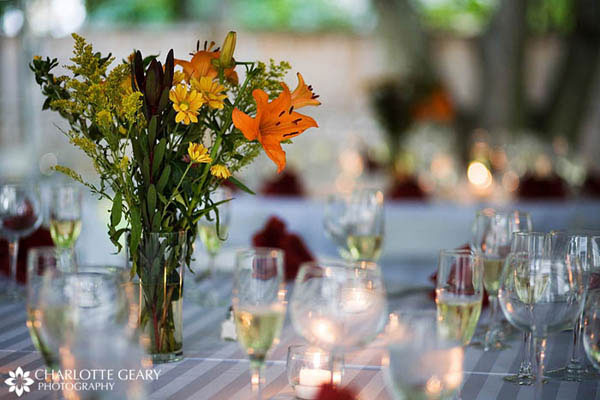 Yellow and orange wedding centerpiece