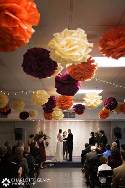 Paper tissue balls as wedding ceremony decorations