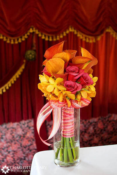 Pink, orange, and yellow bridal bouquet
