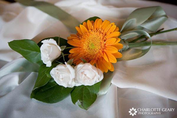 Green and orange flower arrangement
