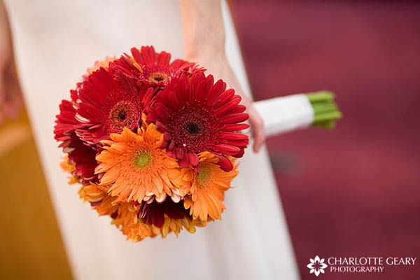 Orange and red bouquet of gerber daisies