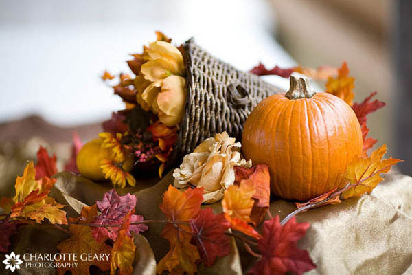 Autumn cornucopia wedding centerpiece