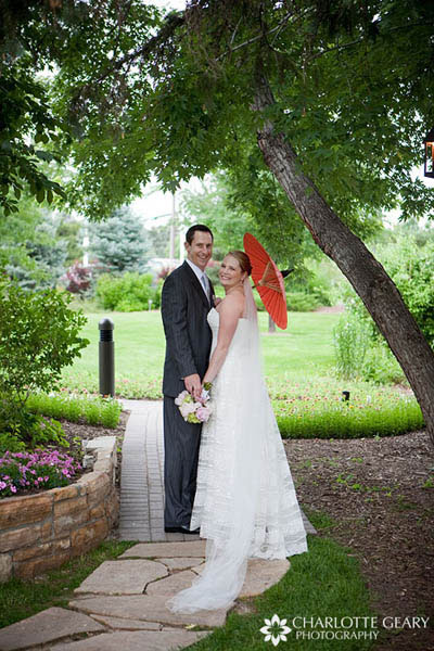Bride with red parasol