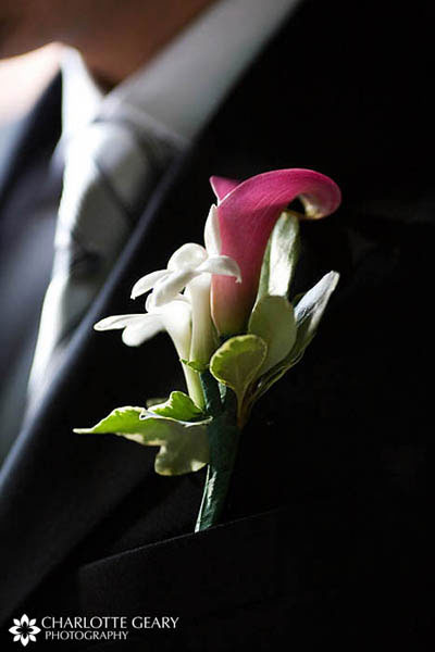 Pink calla lily boutonniere with white stephanotis