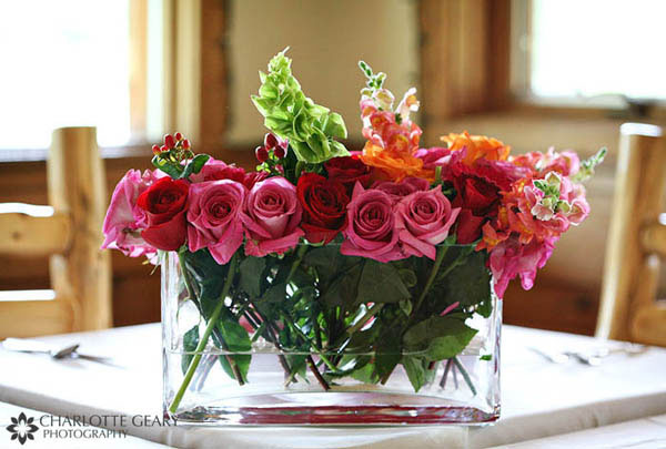 Red and pink rose centerpiece