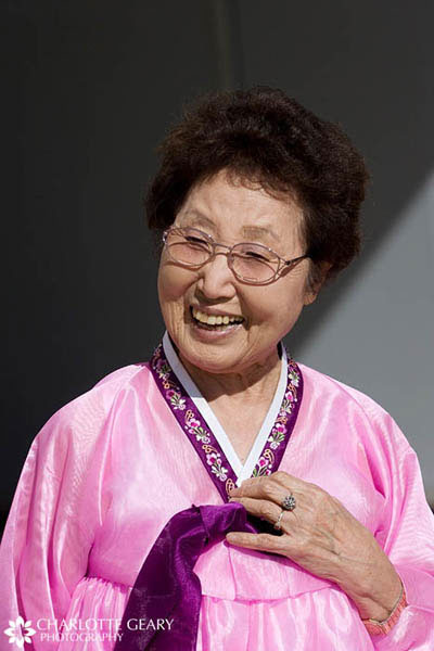 Grandmother in pink Korean gown