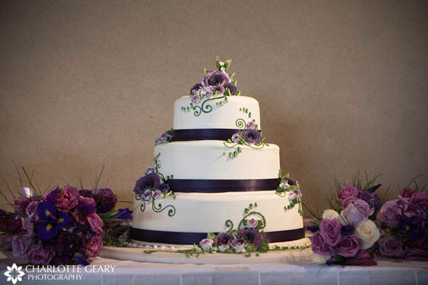 Wedding cake decorated in indigo blue and purple