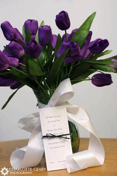 Centerpiece of purple tulips