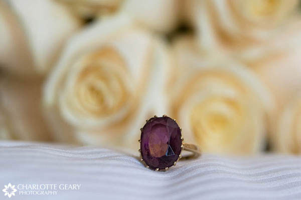 Heirloom ring with purple stone