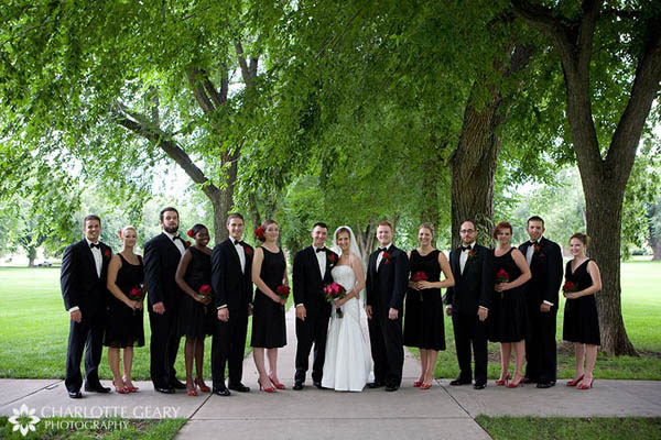 Wedding party in red and black
