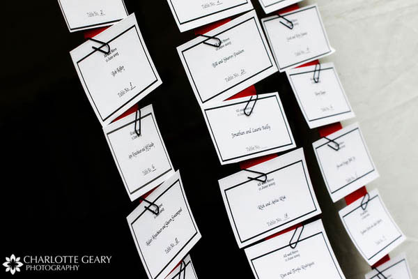 Place cards displayed on a red ribbon