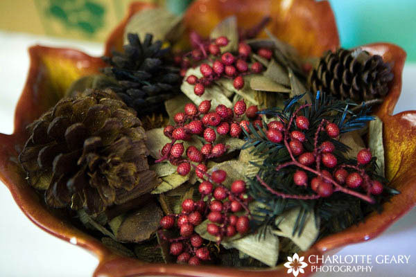 Centerpiece of pine cones and berries