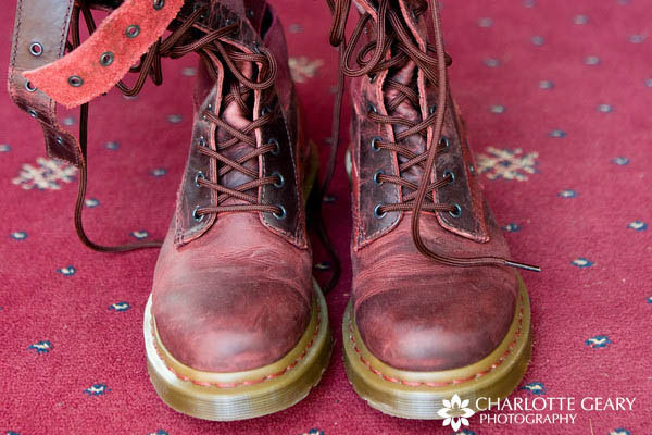 Red Doc Marten boots for the bride