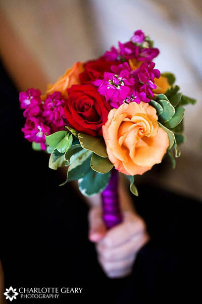Bouquet of pink, purple, orange and red flowers