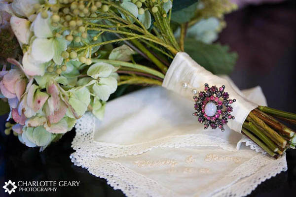 Bouquet with heirloom brooch and embroidered handkerchief