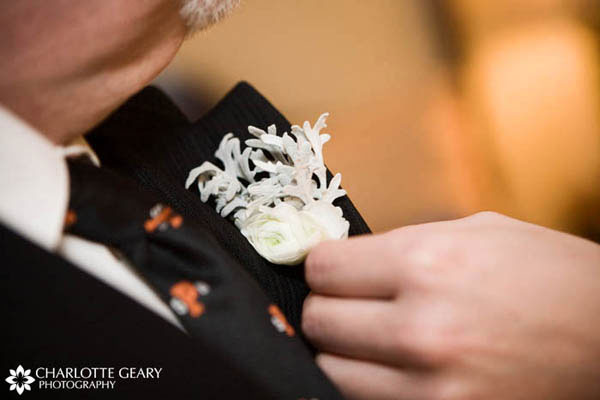 White boutonniere for a winter wedding