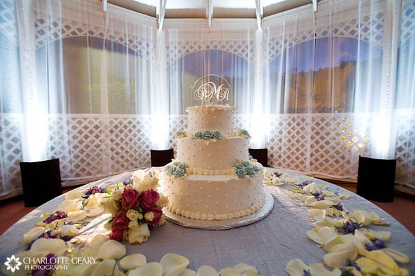 Wedding cake with crystal monogram topper