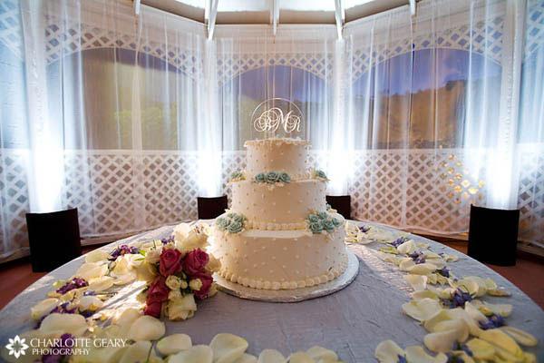 Wedding cake with crystal monogram topper